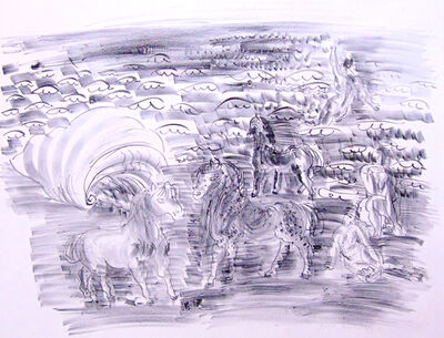 Raoul Dufy, 'Little Horses, Bathers and Seashell | Petits Chevaux, Baigneuses et Coquillage', 1925