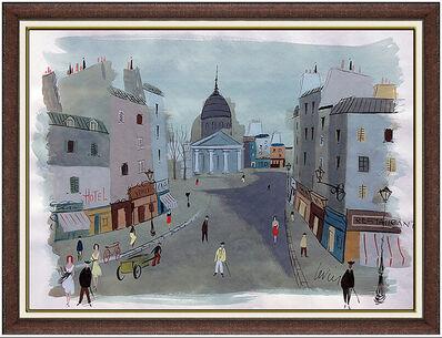 Charles Levier, 'Charles Levier Large Original Paris France Cityscape Gouache Painting Signed Art', 20th Century