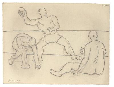 Pablo Picasso, 'PERSONAJES EN LA PLAYA. Homme lançant une pierre'