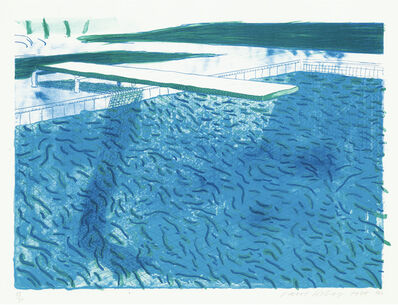 David Hockney, 'Lithograph of Water Made of Thick and Thin Lines, A Green Wash, A Light Blue Wash, and A Dark Blue Wash (Museum of Contemporary Art, Tokyo 202)'