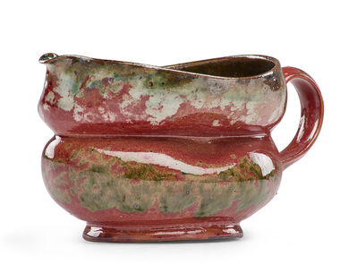 George Ohr, 'Short folded pitcher with ear-shaped handle, fine raspberry, green, and indigo sponged-on glaze', 1897-1900