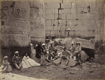 Francis Bedford, 'The Prince of Wales and party among the ruins in the Hypostyle Hall, Temple of Amun, Karnak', Mar 1862