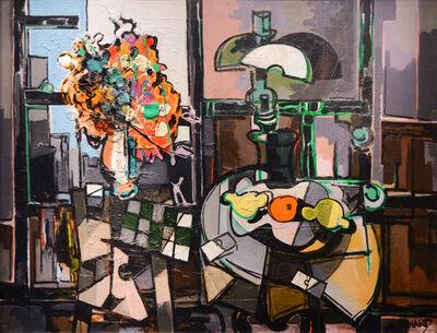 Claude Venard, 'Nature morte a la lampe et au bouquet orange', 1954