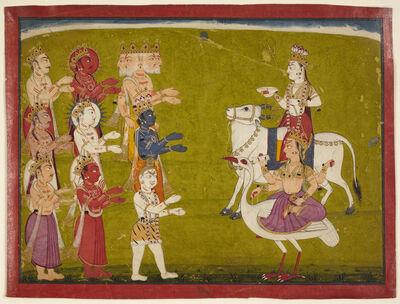 'Maheshvari on Nandi the Bull and Brahmani on Hanisa the Ostrich from the Devi Mahatmya', 18th century