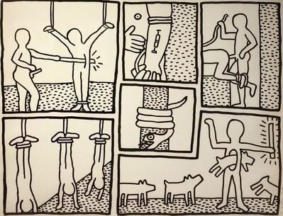 Keith Haring, 'UNTITLED I FROM BLUEPRINT SERIES', 1990