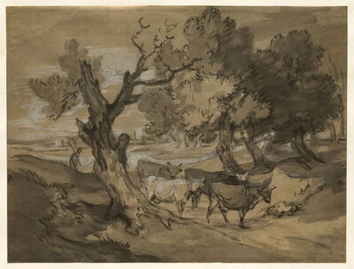 Thomas Gainsborough, 'Landscape with Herdsman Driving Cows and Distant Buildings', mid to late 1780s