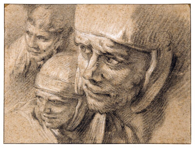 François Boucher, 'Three Heads of Roman Soldiers', ca. 1749-early 1760's