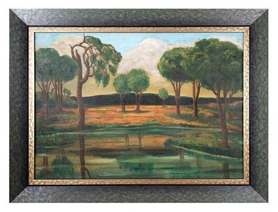 Maurice Kish, 'Early Modernist River Landscape with Trees and Mountains WPA artist', 1930-1939