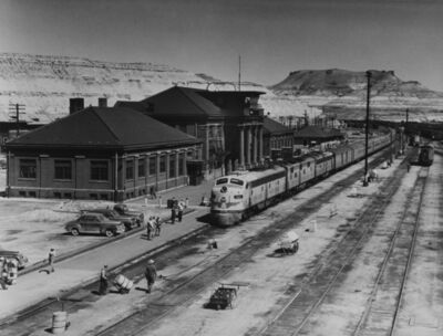 Richard Steinheimer, 'Westbound City of Los Angeles 2 p.m. Train #103 at Green River, WY, City of San Francisco 1:40 p.m. in Far Distance', 1952