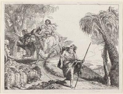 Giovanni Domenico Tiepolo, 'The Flight with Joseph in the Foreground', 1753