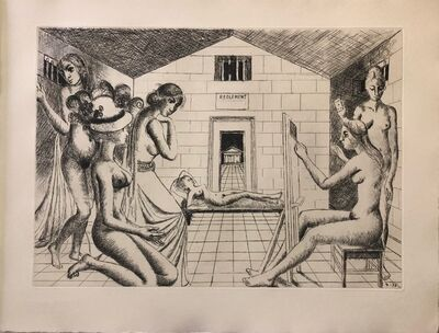 Paul Delvaux, 'Construction d'un Temple en ruine - Plate n.3', 1973