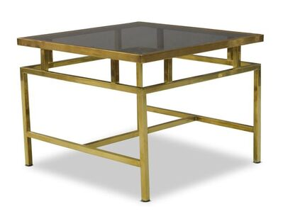 In the manner of Maison Jansen, 'A brass and smoked glass coffee table', c. 1960s