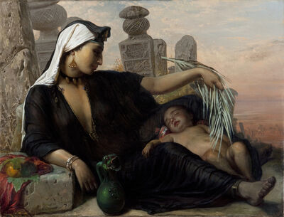 Elisabeth Jerichau Baumann, 'An Egyptian Fellah Woman with her Baby', 1872