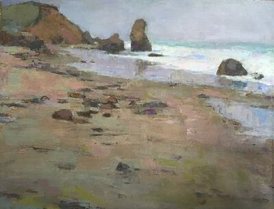 "Larry Horowitz, ' ""Lucy Vincent"" oil painting of Martha's Vineyard Beach and cliffs earth tones', 2020"