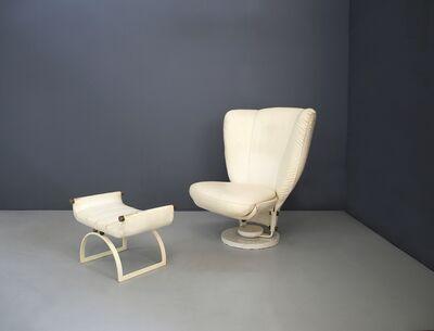 Marzio Cecchi, 'Swivel Armchair by Marzio Cecchi with Pouf in Brass and White Leather from 1970', ca. 1970