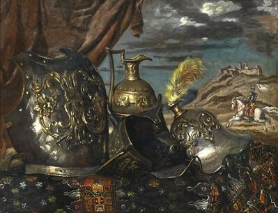 Giorgio de Chirico, 'Corazze con cavaliere o Natura morta ariostesca', 1940