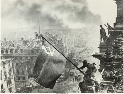 Yevgeny Khaldei, 'Raising the Hammer and Sickle over the Reichstag', 1945