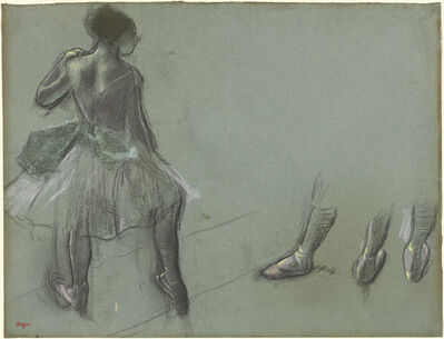 Edgar Degas, 'Dancer Seen from Behind and Three Studies of Feet', ca. 1878