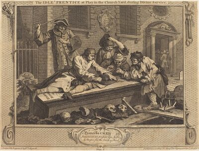 William Hogarth, 'The Idle 'Prentice at Play in the Church Yard, during Divine Service', 1747