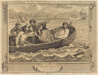 William Hogarth, 'The Idle 'Prentice turn'd away, and sent to Sea', 1747
