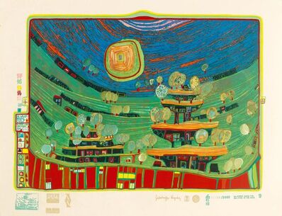 Friedensreich Hundertwasser, 'The houses are hanging underneath the meadows', 1971