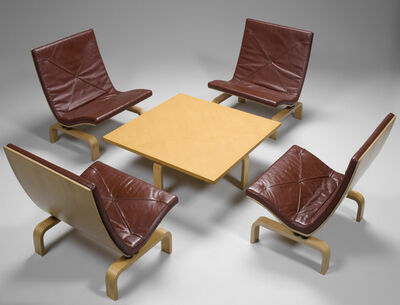 Poul Kjærholm, 'Four Lounge Chairs, Model no. PK-27 and Coffee Table, Model no. PK-66', ca. 1971