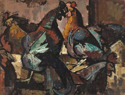 Herbert Barnett, 'Hens in Sunlight', 1947
