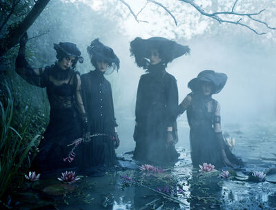 Tim Walker, 'Jamie Bochert, Christina Carey, Erin O' Connor & Anna Cleveland, in homage to Virginia Woolf. Charleston Farmhouse, East Sussex, 2015', 2019