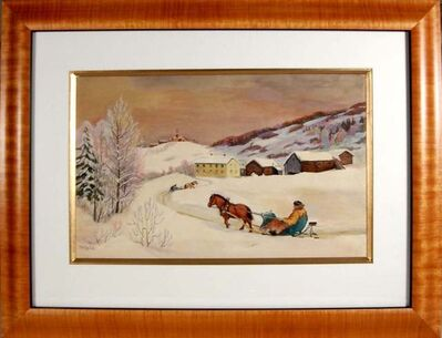 Paul Lilo Stenberg, 'Winter scene with Sledge', ca. 1940