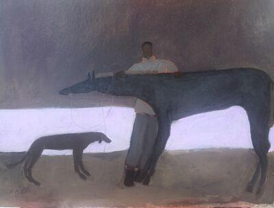 Gigi Mills, 'Walking the Track/ Horse Groom & Dog/ Violet', 2019