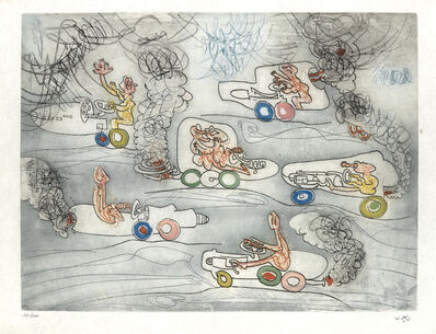 Roberto Matta, 'Two color etchings and aquatints from Les Oh! Tomobiles.'