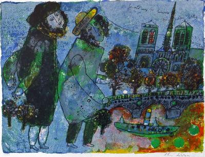 """Theo Tobiasse, '""""je vais vers les hommes des grandes villes."""" Paris, with view of Notre Dame', ca. 1990"""