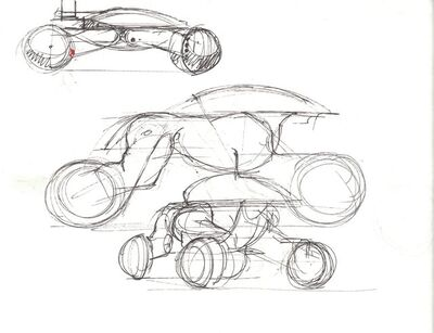 Syd Mead, 'Concept Sketch for Aliens Game, ATV Military Vehicle. (Drawing on reverse)', 2007