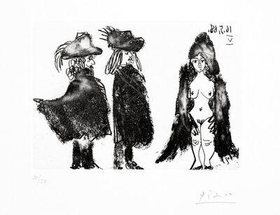 Pablo Picasso, 'Cavalier et son Valet, et jeune Fille vêtue d'une Mante', 1968