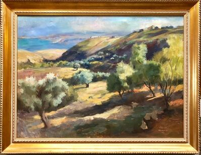 Zvi Adler, 'Hungarian Israeli Large Landscape Painting of Judean Hills, Jerusalem, Israel', 1950-1959