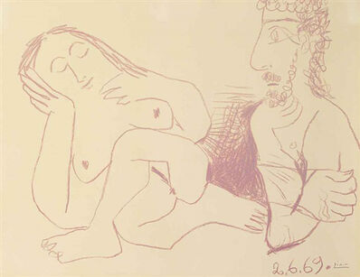Pablo Picasso, 'Bust of naked man and woman', 1969
