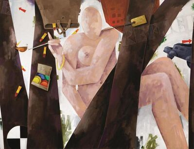 Emilio Tadini, 'Profugo in bosco', 1987