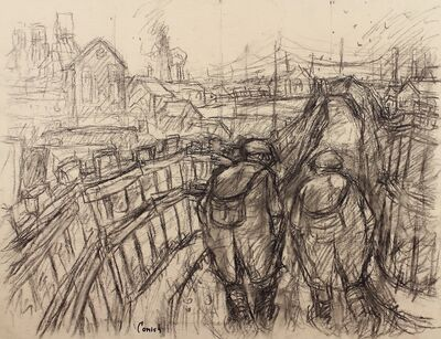 Norman Cornish, 'Miners on pit road', ca. 1964