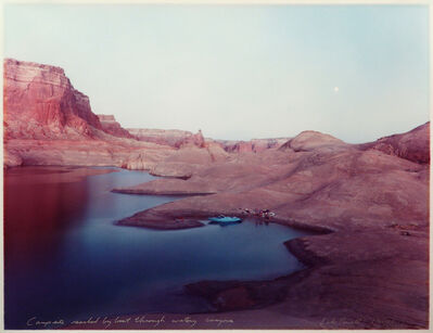 Mark Klett, 'Campsite reached by boat through watery canyons, Lake Powell 8/20/83', 1983