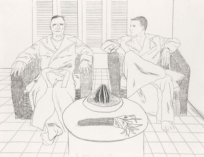 David Hockney, 'Don Bachardy and Christopher Isherwood', 1976