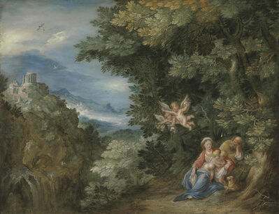 Follower of Jan Breughel I, 'The Rest on the Flight into Egypt with Saint John the Baptist, the Temple of the Sibyl at Tivoli in the distance'