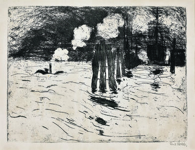 Emil Nolde, 'Schiffe im Dock (Ships in the dock), Hamburg', 1910