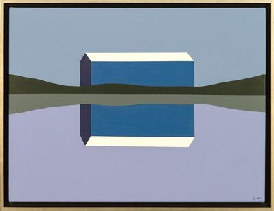 Charles Pachter, 'Blue Barn Reflected - navy, purple, landscape, abstracted, acrylic on canvas', 2020