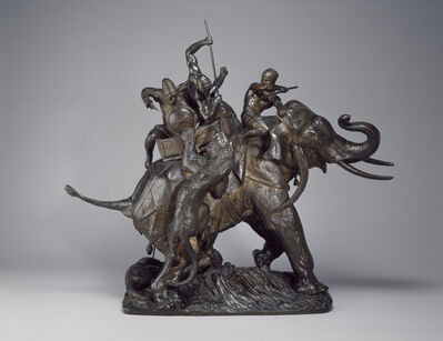 Antoine-Louis Barye, 'Surtout de table: Tiger Hunt', 1834-1836