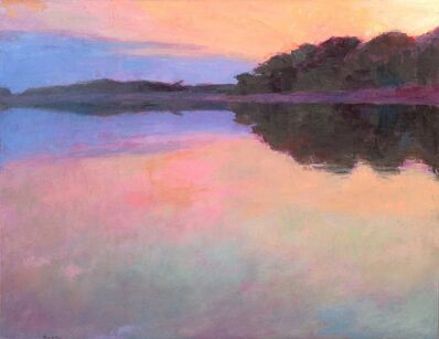 "Larry Horowitz, '""Sunset Reflections"" oil painting of purple and pink sunset reflected on water', 2010-2017"