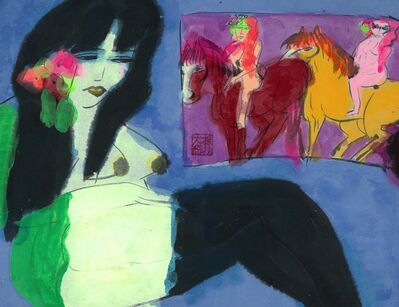 Walasse Ting 丁雄泉, 'Reclining woman'