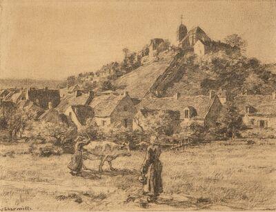 Léon Augustin Lhermitte, 'Paysannes et Vaches Devant le Village de Mont-Saint-Père', ca. 1887
