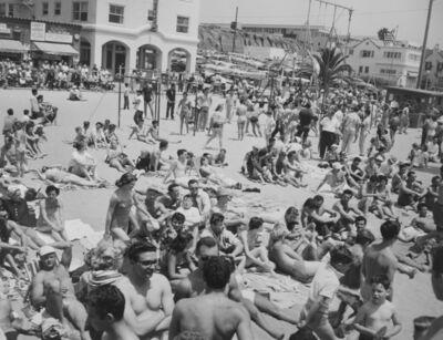 Larry Silver, 'People on Beach, Muscle Beach Santa Monica, CA', 1954