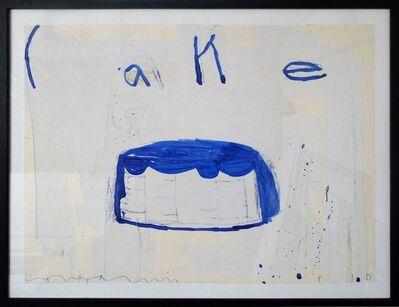 Gary Komarin, 'Single Cake, Blue on White'