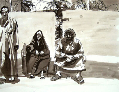 Steve Mumford, '13B52 Iraqis waiting for reparations, CMOC, Baquba, July, 2004', 2004
